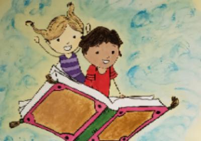 flying kids mural